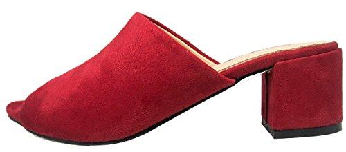 Slip Open Red On Mule Clog BETANI Toe Women's q5tFASc1