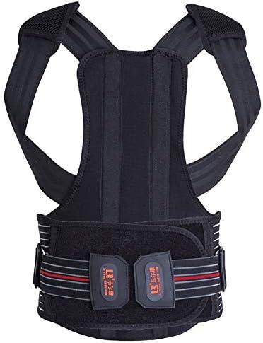 背もたれ矯正装置、男性用調節可能な肩腰椎ウエストサポートベルト、姿勢の改善、眠りの防止、痛みの軽減、黒 (Size : XL)