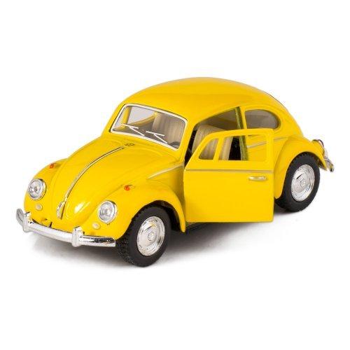 Yellow 1967 Classic Die Cast Volkwagen Beetle Toy with Pull Back - Beetle Volkwagen