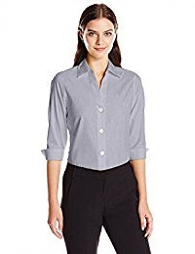 Foxcroft NYC Womens Pinpoint Oxford Shirt Non-Iron Stretch Poplin Blouse (Large, Silver)