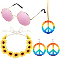 ABOAT 4 Pieces Hippie Costume Set Includes 1 Sets Rainbow Peace Sign Necklace and Earrings, 1 Piece Flower Crown Headband and 1 Pair of Hippie Sunglasses