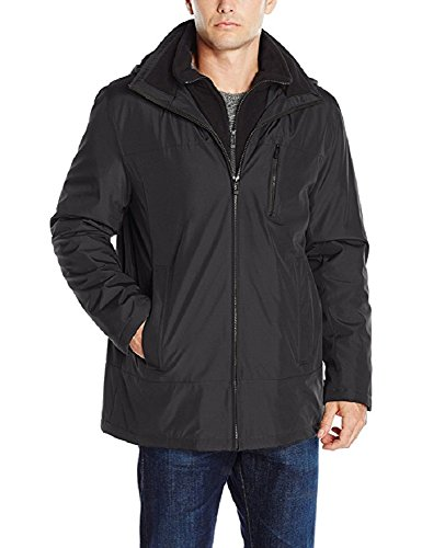 Calvin Klein Modern Fit Black Solid Zippered Hooded New Men's Overcoat (Medium) by Calvin 'Klein