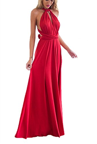 Clothink Women Red Convertible Wrap Bandage Bridesmaid Dress L]()