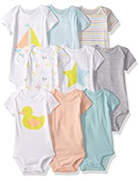 Baby Girls' 9-Pack Grow with Me Bodysuit Set,