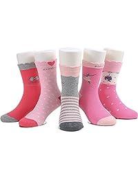 SUNBVE Baby Toddler Little Girls' Cute Soft Cotton Crew Socks 5 Pairs Pack