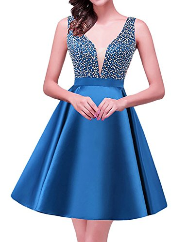 Ball Gown Homecoming V BHS029 Blue Neck Dresses Party Short BessWedding Women's Beaded Satin fqggvz