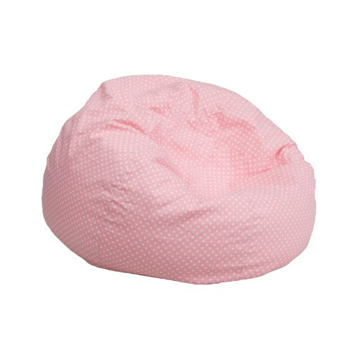 Childrens Bean Bags (Flash Furniture Small Light Pink Dot Kids Bean Bag)