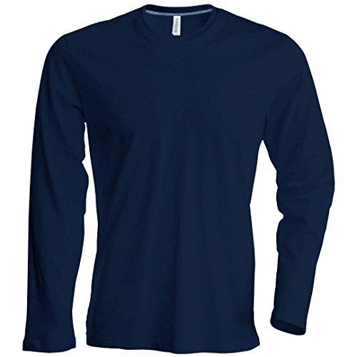 Kariban camiseta de manga larga cuello redondo azul marino
