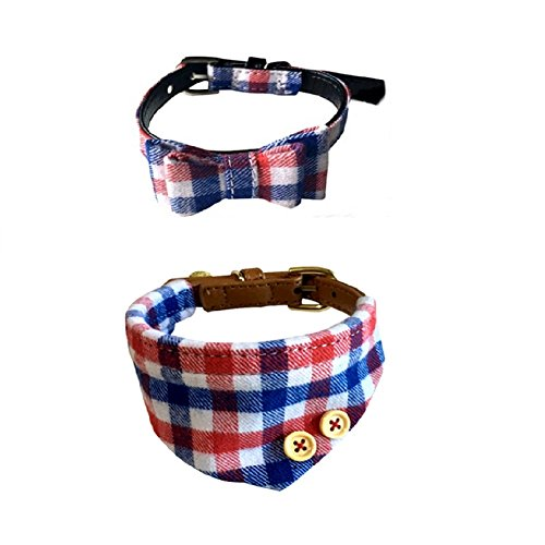 Stock Show 2Pcs Adjustable Bowtie Small Dog Collar and Scarf with Bell Charm, Cute Plaid Bowtie Collar Red Bandana for Puppy Pup Doggie Small Dog, Blue & Red & White Plaid (Collar Bandana Dog)
