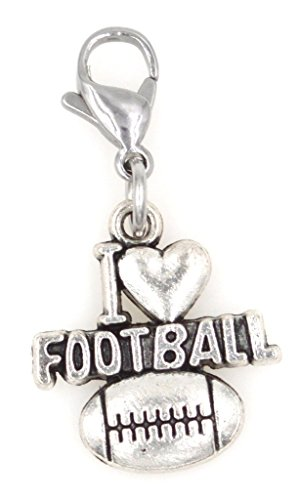 I Love Football Sports Stainless Steel Clasp Clip on Charm SSCL (Love Football Charm)