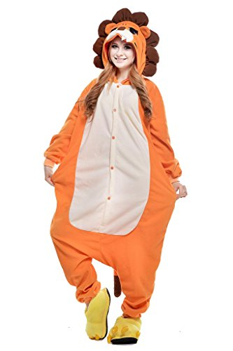 NEWCOSPLAY Unisex Adult One- Piece Cosplay Animal Pajamas Halloween Costume (L, Lion)]()