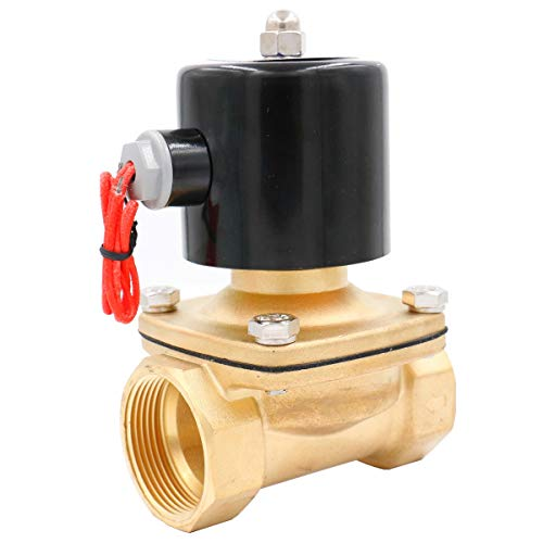- Baomain Brass Electric Solenoid Valve NPT 1-1/2 Inch AC 110V Thread Direct Acting Normally Closed Compatible with Water Air