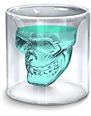 Sharemee - Crystal Skull Shot Glasses, Double Wall Transparent Cold Drink Glass Cup for Whiskey Brandy Bar Decor, Party Home and Entertainment Dining Halloween Mug