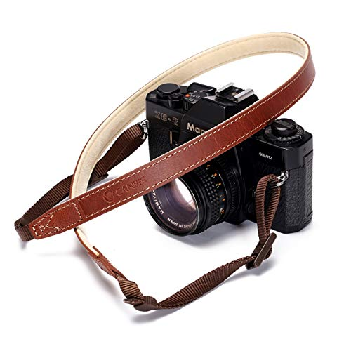 CANPIS CP008 Camera Shoulder Neck Strap for Canon Nikon Leica Fuji Sony Olympus etc. Brown Color, Adjustable Length, Slim with Flocking Comfortable Pad