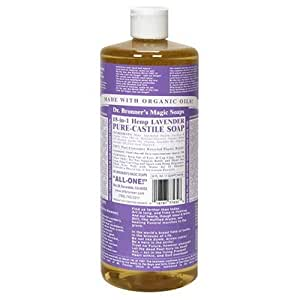 Dr. Bronner's Magic Soaps Pure-Castile Soap, 18-in-1 Hemp Lavender, 32-Ounce Bottles (Pack of 2)