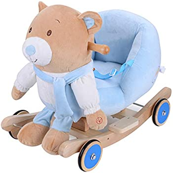 Rocking chair Music Rocking Horse Childrens Wooden Horse Rocking Horse Baby Gift Toy Car 602638cm FANJIANI (Color : B)