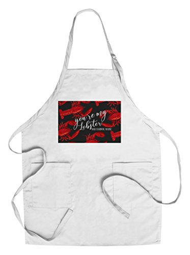 Bar Harbor, Maine - You're My Lobster - Black Pattern (Cotton/Polyester Chef's Apron) (Pattern Apron Tea)
