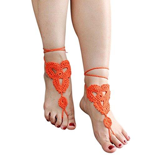 Minzhi 1 Pair Fashion Women Barefoot Anklet Crochet Elegant Girl Cotton Ankle Chain Lady Sandal Bracelet Yoga Foot Jewelry Lake Blue HUUFE9