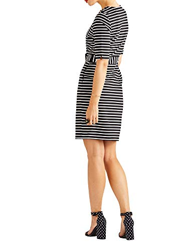 Yumi Multi tie Stripe Bodycon Waist Self Dress OOrqCdw1x