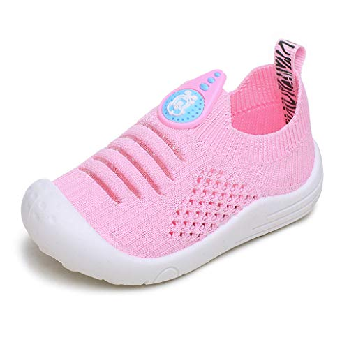 Dream_mimi Infant Baby Children Boys and Girls Flying Woven Hollow Breathable Soft Mesh Socks Sports Shoes Single Shoes Pink