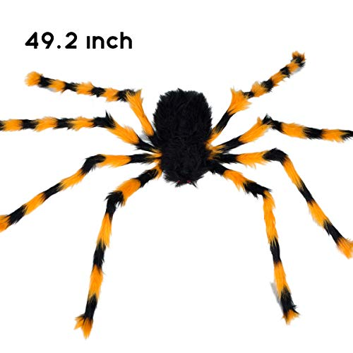 Halloween Spider Decoration Fake Realistic Hairy Scary Spider Giant 50inch Haunted House Prop Black Spider Plush Prank Toy Halloween Indoor Outdoor Decoration (50inch, Multicolor)