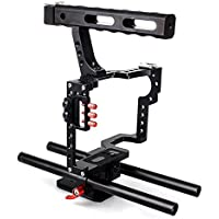EACHSHOT DSLR Rod Rig Camera Video Cage Kit & Handle Grip f. Sony A7 A7II A7r A7s II A6500 A6300, Panasonic GH4 GH3 to Mount Microphone,Monitor,Video LED Light,Follow Focus