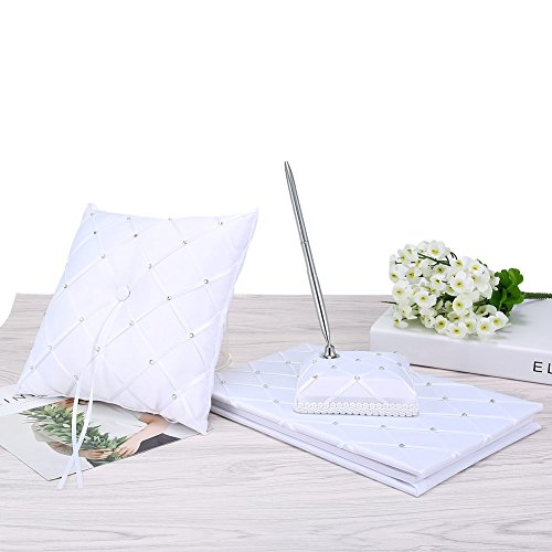 Qjoy 5 Pcs/ Set Wedding Guest Book + Pen + Ring Pillow +Flower Basket + Garter Sets for Wedding Decor Event Party Supplies (Type 8) by Qjoy