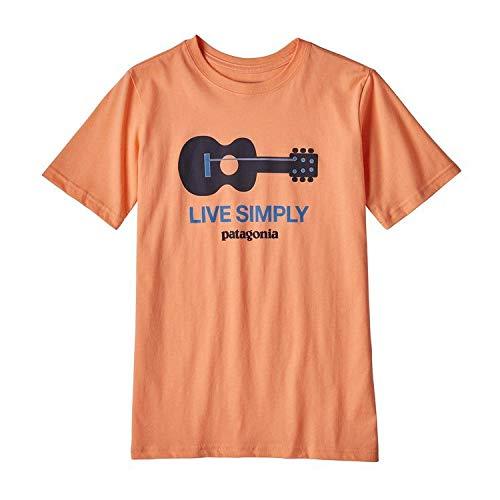 Patagonia Cotton Shirt - Patagonia Boys' Graphic Organic Cotton T-Shirt - Live Simply Guitar: Peach Sherbert XXL