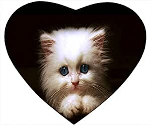Cat Nonskid Heart Shaped Mouse Pad - The Cat Feel Alone in the Dark