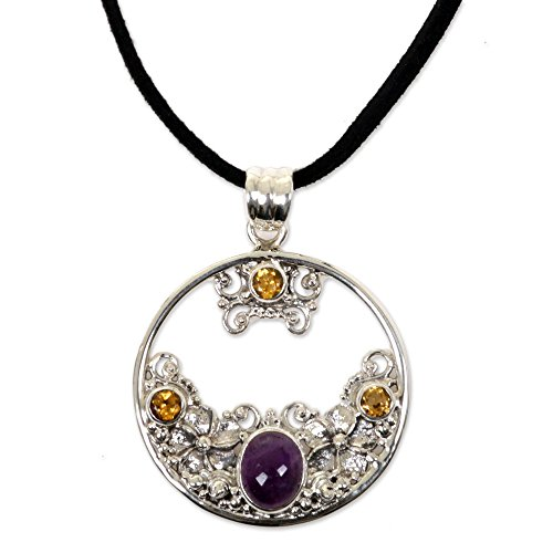 (NOVICA Sterling Silver Citrine and Amethyst Floral Pendant Necklace, 18.5