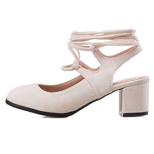 AIYOUMEI Damen Geschlossen Blockabastz Chunky Heel Slingback Sandalen mit Schnürung und 6cm Absatz Bequem Sommer Süß Schuhe Beige
