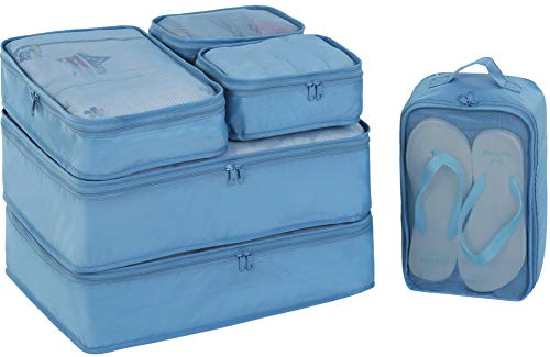 Packing Cubes 6 Set-TZbonjourney-Travel Luggage Packing Organizers with Shoe Bag(Seablue)