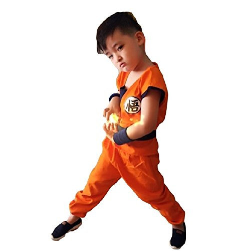 Dragon Ball Costume For Kids (SSJ Dragonball Goku Style Costume 5-piece set [Satoru Mark Kids] Japanese Amime (M_47.2-51.1in, Orange))