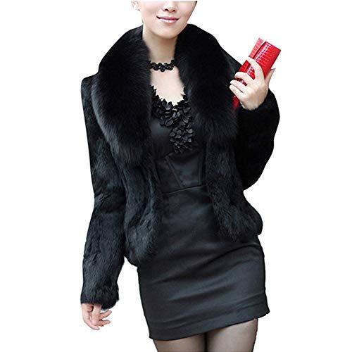 Classical city Faux Fox Fur Coat Women Long Sleeve Thick Overcoat Slim Short ()