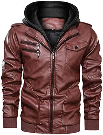 Yomiafy Mens Winter Fashion Vintage Zipper Pure Color Faux Leather Jacket Loose Stand Collar Casual Outerwear Coats
