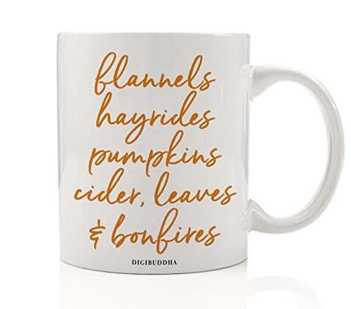 Autumn Season Coffee Tea Mug Gift Idea Everything Fall Pumpkins & Spices Seasonal Thanksgiving Dinner Halloween Parties Present Family Coworker Home Office 11oz Ceramic Beverage Cup Digibuddha DM0380