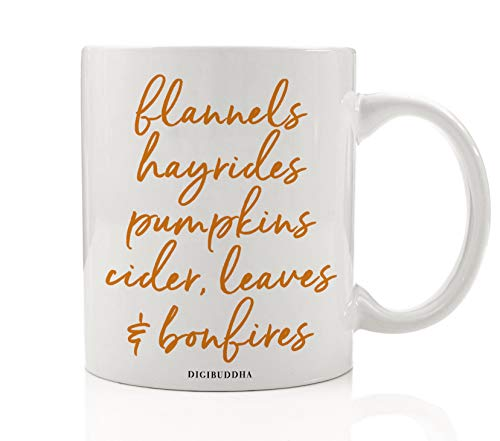 Autumn Season Coffee Tea Mug Gift Idea Everything Fall Pumpkins & Spices Seasonal Thanksgiving Dinner Halloween Parties Present Family Coworker Home Office 11oz Ceramic Beverage Cup Digibuddha -