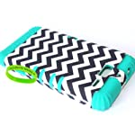 Cellphone Trendz Hybrid Rocker Case for Motorola DROID RAZR M (XT907, 4G LTE, Verizon) – Black White Chevron Design Hard Shell (Teal)