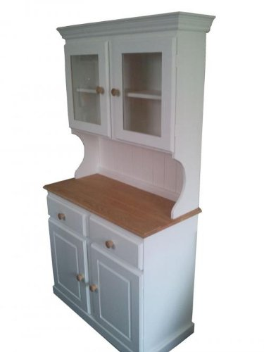 Wye Pine Painted Glazed Welsh Dresser - Mix - Colour: White