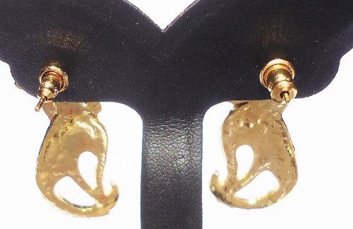Fashion Design Jew Gem Cat Drop Lovely Love Gold Plated Metal Stud Earrings 213