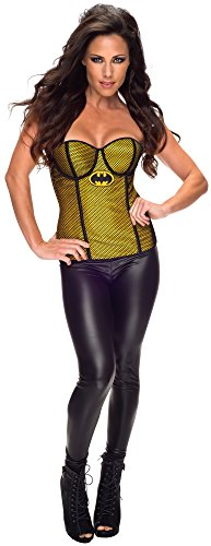Dc Comics Secret Wishes Batgirl Corset Costumes (Rubie's Costume Women's DC Comics Batgirl Corset with Fishnet Overlay, Black/Yellow, Large)