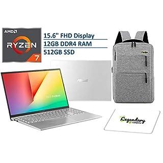 "2020 ASUS VivoBook 15 15.6"" FHD Display Laptop Computer, AMD Ryzen 7-3700U, 12GB RAM, 512GB PCIe SSD, AMD Radeon RX Vega 10, Webcam, HDMI, Windows 10, Silver + Lengendary Backpack & Mousepad"