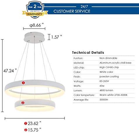 Pendant Light,ROYAL PEARL Modern Chandelier Flush Mount Led Pendant Lamp for Living Room Bedroom Office 2 Rings