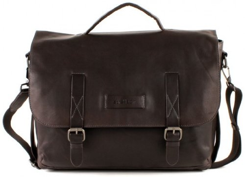 Strellson Miller Briefbag L Leather Laptop (15'') Bag Satchel Briefcase (Dark Brown 702) (Large, Dark Brown)