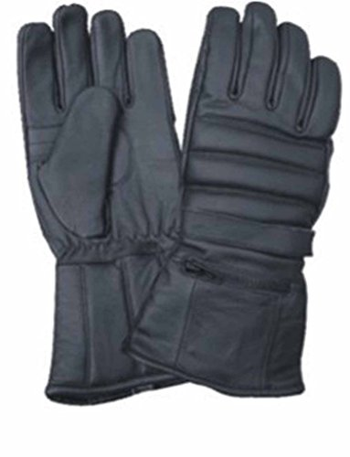 Allstate Leather Padded Naked Leather Motorcycle Riding Gloves with Rain Cover 3XL Black (Naked Leather Motorcycle Gloves)