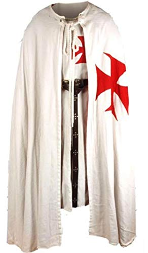 Medieval Knight Crusader Templar Middle Ages Sleeveless Tunic Cloak Without Hood ()