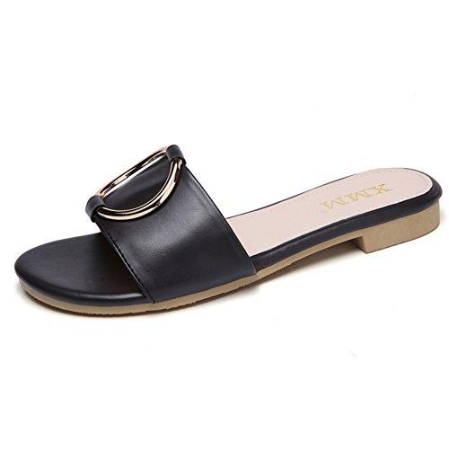 ZHANGRONG Noir CN34 Taille Plates Pantoufles Plates Femme EU35 Sandales Sandales Couleur Chaussons Été UK3 Blanc Pantoufles AqqZw