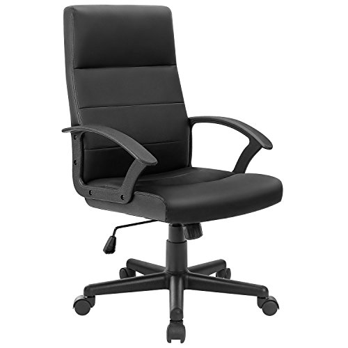 Furmax Mid Back Office Chair Executive Desk Computer Leather Chair with Armrest,Ergonomic Swivel Task Chair with Lumbar Support(Black)