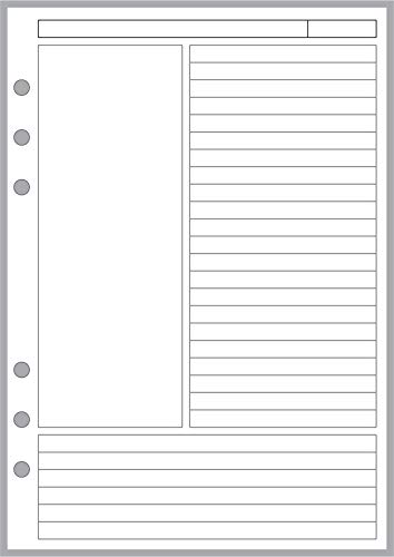 A5 Size Cornell-style Notes pages, Sized and Punched for 6-Ring A5 Notebooks by Filofax, LV (GM), Kikki K, TMI, and others. Sheet Size 5.83