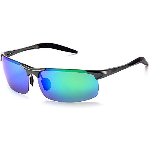 YJMILL New Best Polarized Retro Driving Wayfarer Sports Sunglasses For Men 2018 (Black frame green lens, - Sport 2017 Sunglasses Best